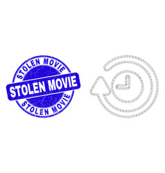 Blue grunge stolen movie stamp and web mesh rotate vector