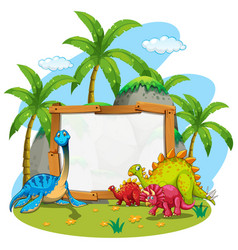 border template with cute dinosaurs vector image