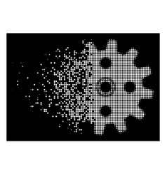 Bright disappearing dotted halftone cogwheel icon vector