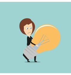 Business woman carrying huge idea light bulb vector
