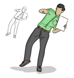 businessman pointing blank sheet vector image