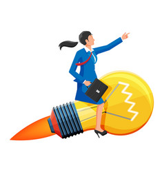 businesswoman sits on flying rocket light bulb vector image