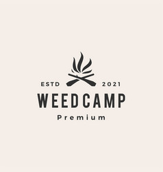 Cannabis fire wood cross weed camp hipster vector