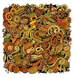 Cartoon cute colorful doodles africa vector