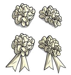 cartoon white holiday bow knot icon set vector image