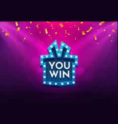 Celebrate win gift box retro board broadway sign vector