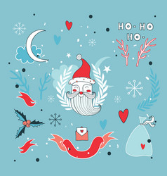 christmas hand drawn design elements set with vector image