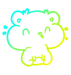 Cold gradient line drawing hamster with full vector