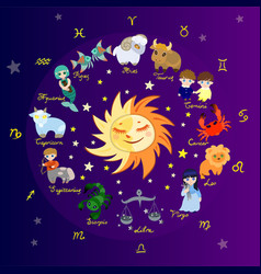 Colored zodiac circle with cartoon characters vector
