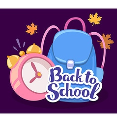 colorful of pink alarm clock blue backpack vector image