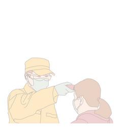 Doctor check temperature woman vector