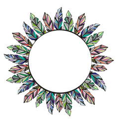 feathers circle frame background vector image