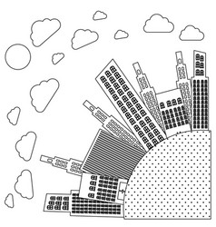 Figure round city with builds and clouds vector