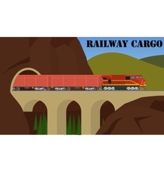 Freight railroad train over the bridge vector image