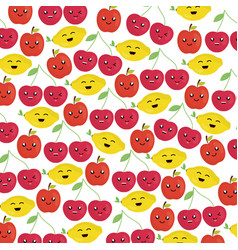 fresh fruits kawaii characters vector image