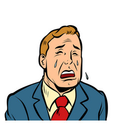 Funny man crying vector