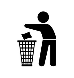 garbage element silhouette of a man throwing trash vector image