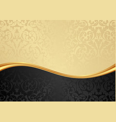 Golden and black background with floral pattern vector
