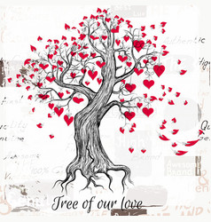 hand drawn valentines day tree with red hearts vector image
