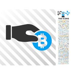 hand take bitcoin flat icon with bonus vector image