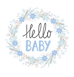 hello baby cute hand drawn card vector image
