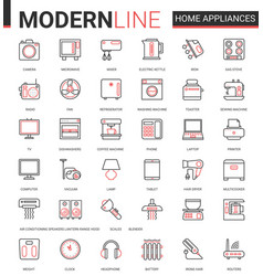 home appliances flat line icon vector image