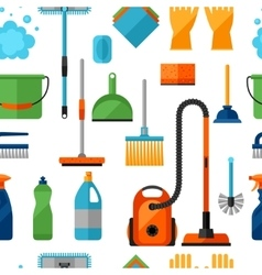 Housekeeping lifestyle seamless pattern with vector image