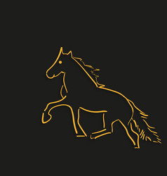 icon horse with the shadow lines on a black vector image