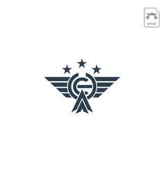 initial ch wings logo icon abstract design vector image