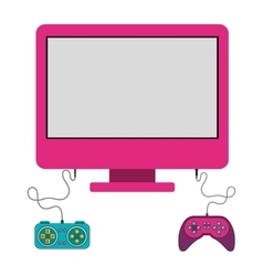 Isolated gamepad and computer design vector image