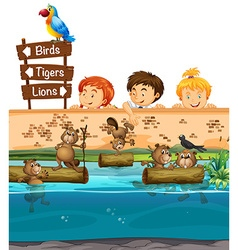 Kids looing at beavers in the zoo vector image