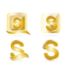 Letter S logo gold set vector image