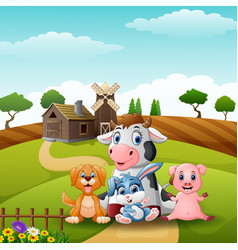 Little animals farm at the road vector