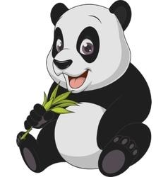 Little funny bear panda vector