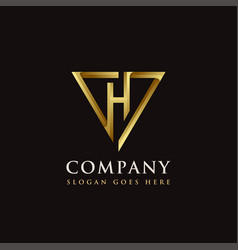 Luxury elegance triangle and letter h logo icon vector