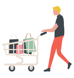 Male going with purchases in truck shop vector