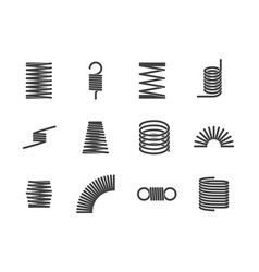 Metal spiral flexible wire elastic spring icons i vector