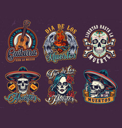 Mexican day dead vintage emblems vector