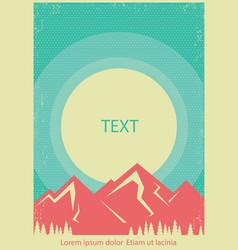 Mountains landscape retro poster background vector
