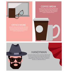 office work and break set vector image