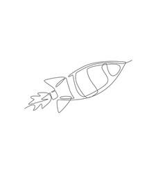 one single line drawing simple vintage rocket vector image