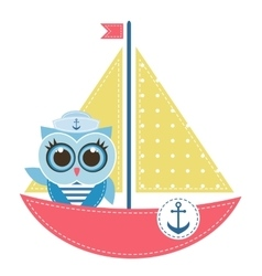 owl sailor on boat vector image
