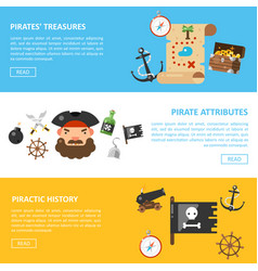 pirate treasures and sea adventures banners vector image vector image