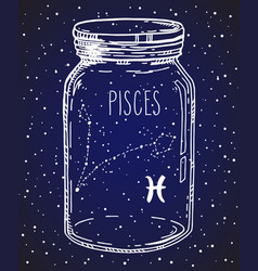 Pisces zodiac sign hand drawn constellation in a vector
