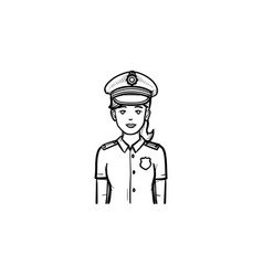 police woman hand drawn outline doodle icon vector image