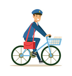 postman in blue uniform on a bicycle delivering vector image
