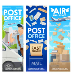 postman letter parcels and mailbox plane truck vector image