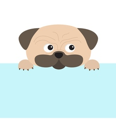 Pug dog mops and paw Cute cartoon character Flat vector