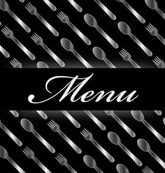 Restaurant menu with silver spoons and forks vector image