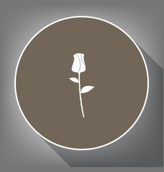 Rose sign white icon on vector